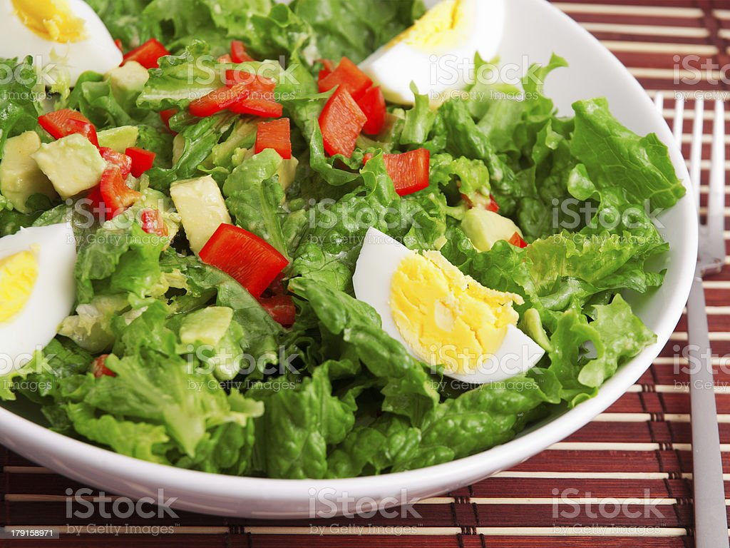 Green salad with eggs royalty-free stock photo