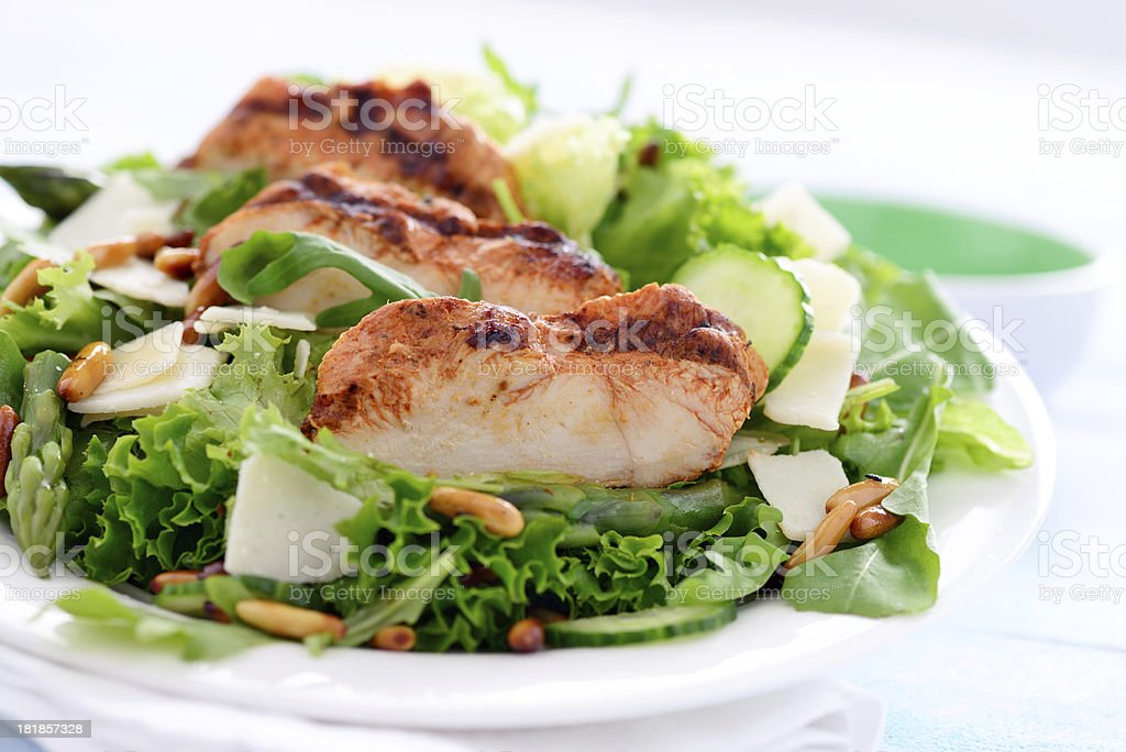 Green salad with grilled chicken slices and rosted pine nuts royalty-free stock photo