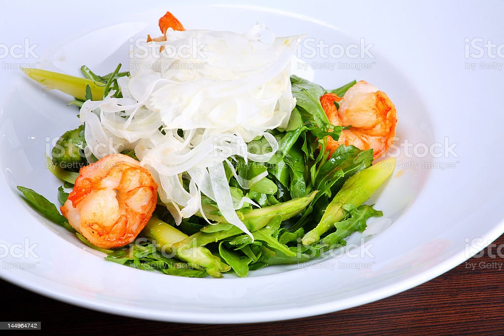Green salad with king prawns, fennel and Roquefort cheese royalty-free stock photo