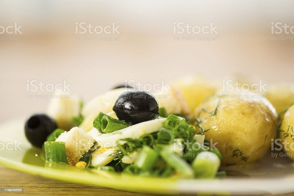 green salad with onion and squid royalty-free stock photo
