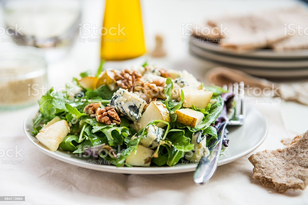 Green Salad with Pears, Blue Cheese, Walnuts stock photo