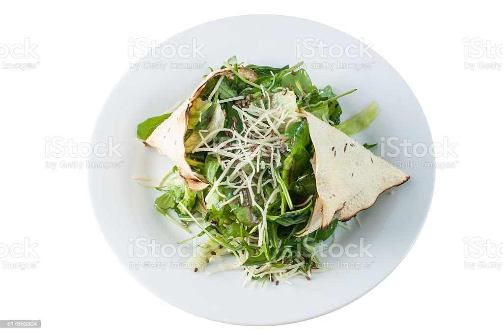 Green salad with poppadom and cheese stock photo