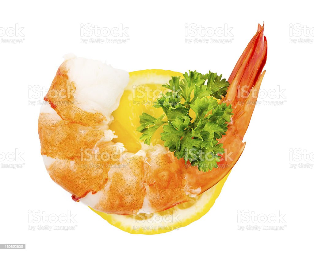 Green salad with shrimps and lemon royalty-free stock photo
