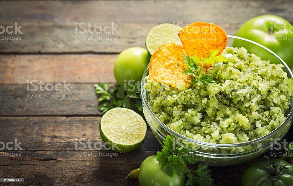Green salsa verde stock photo
