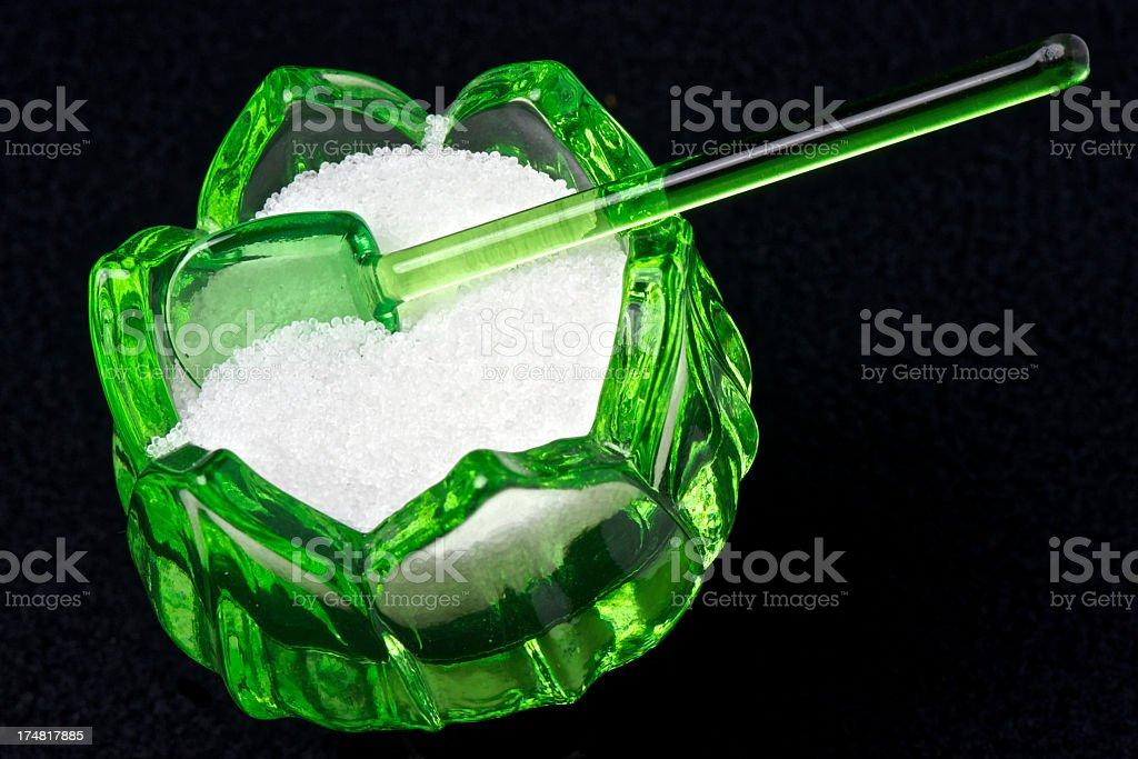 Green Salt Cellar / Dip Depression Glass Old royalty-free stock photo