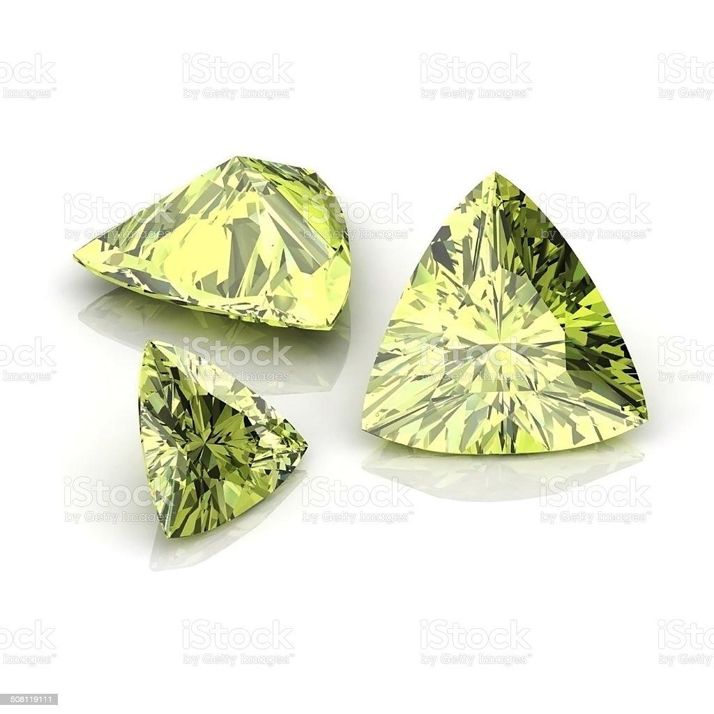 Green Sapphire Trilliant stock photo