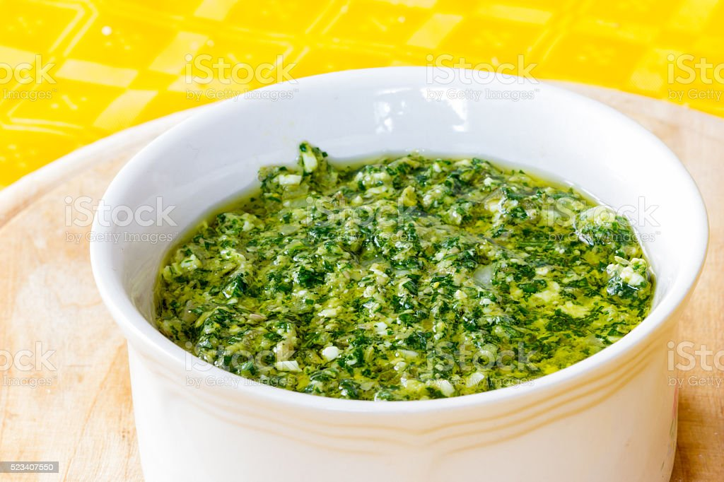 Green sauce for boiled meat stock photo