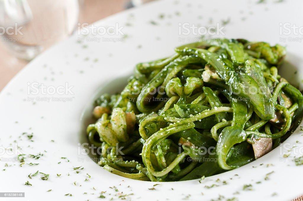 Green sauce shrimp noodle stock photo