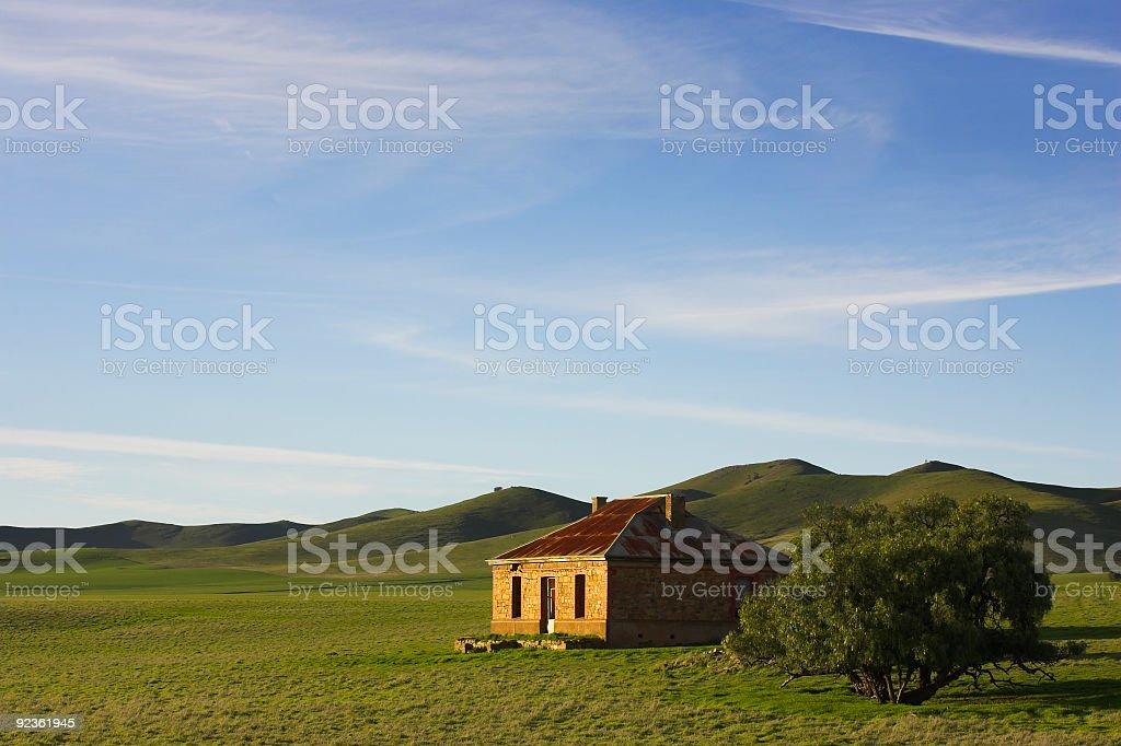 Green scenery of a farmhouse in Burra, South Australia royalty-free stock photo