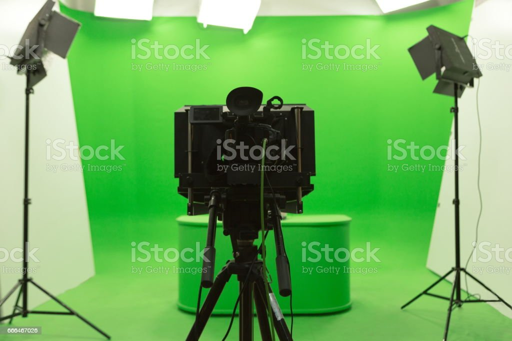Green screen chroma key background modern tv studio setup stock photo