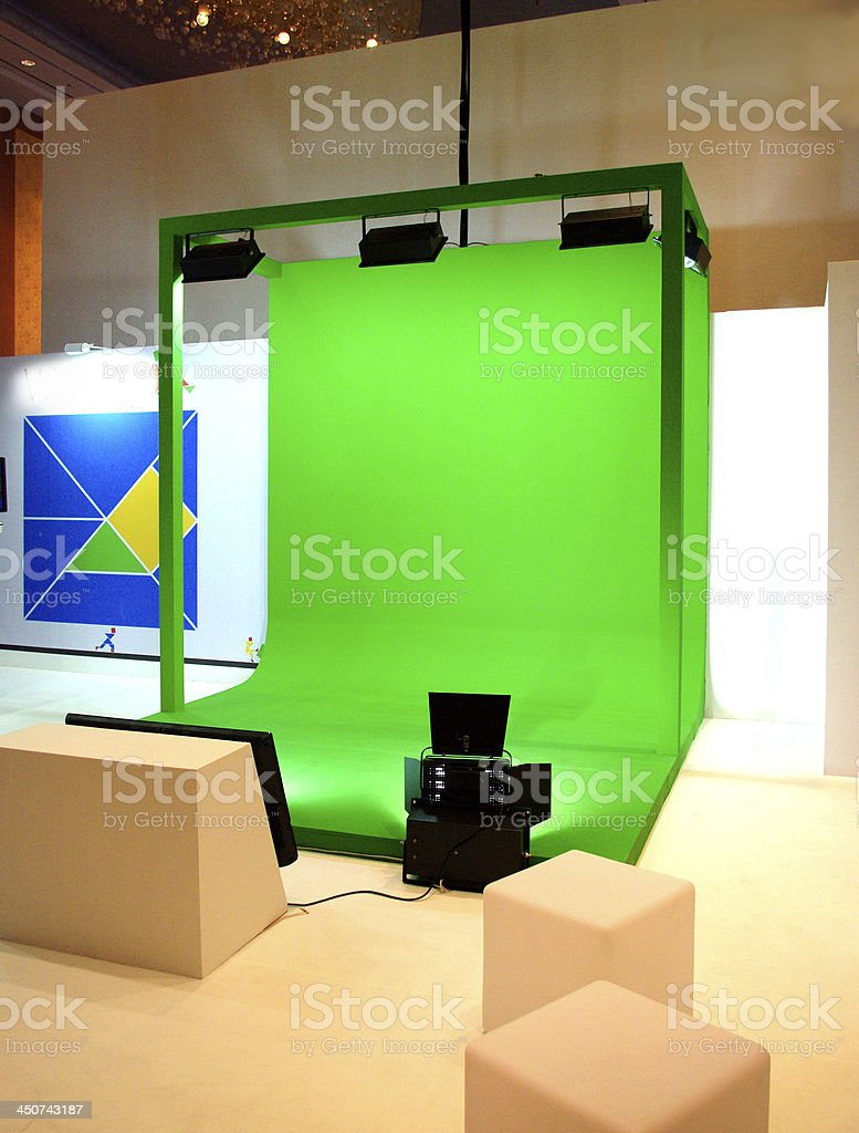 Green screen set for movie shooting stock photo