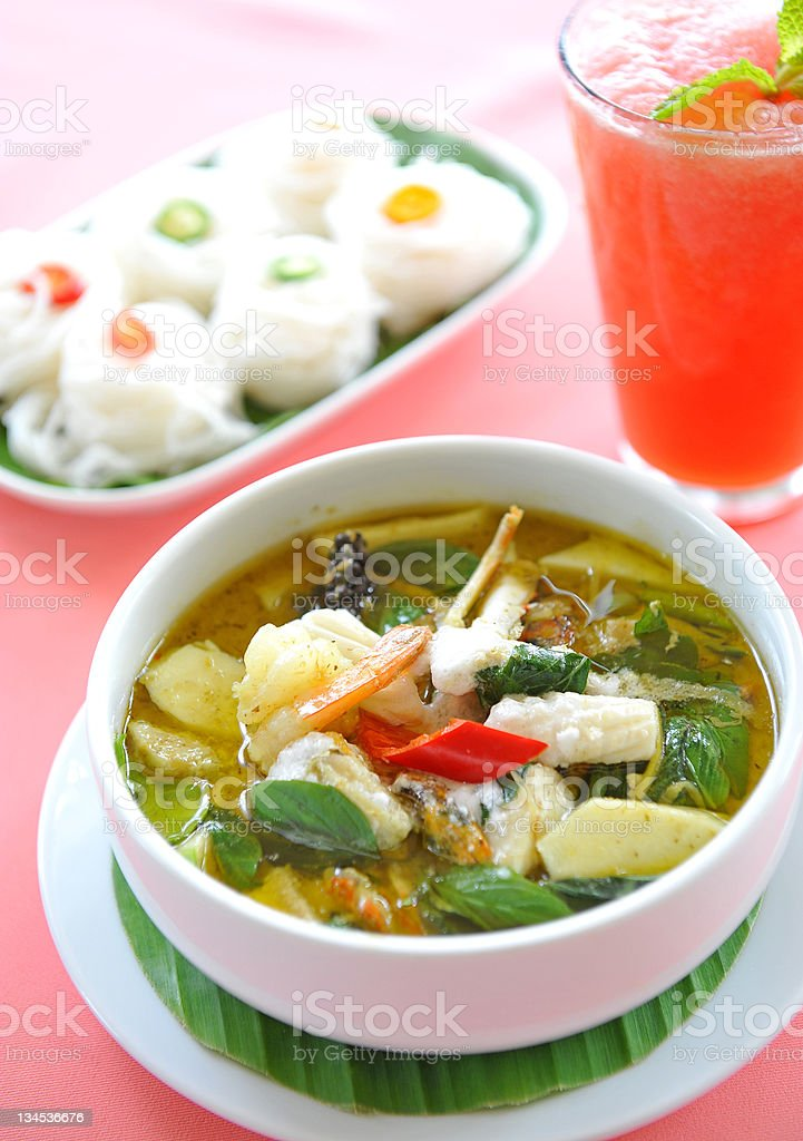 Green seafood Curry royalty-free stock photo