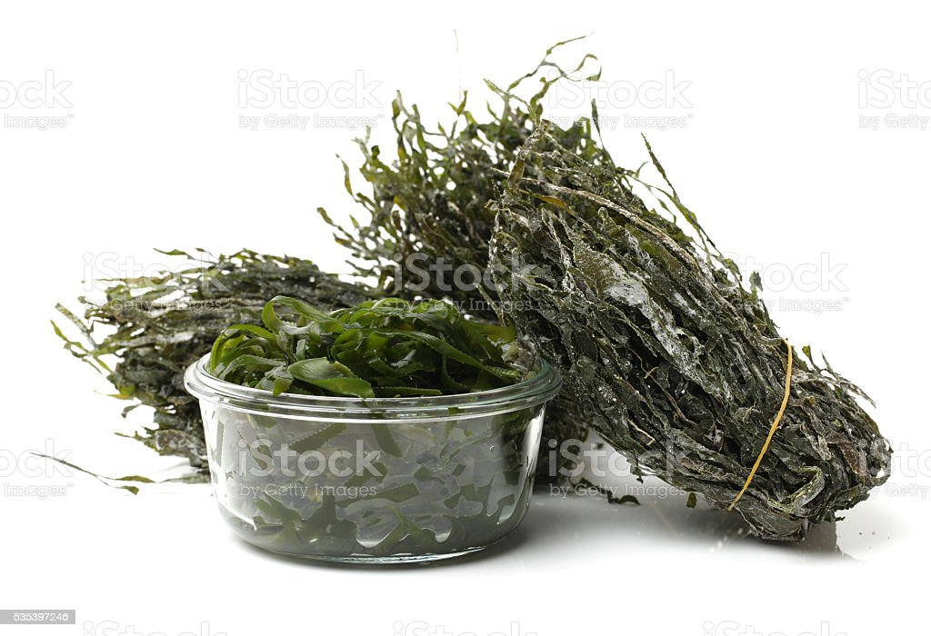 green seaweed ,dried, chopped, stock photo