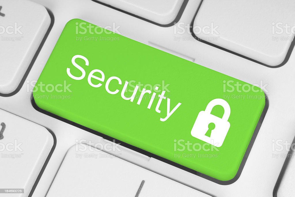 Green security button royalty-free stock photo
