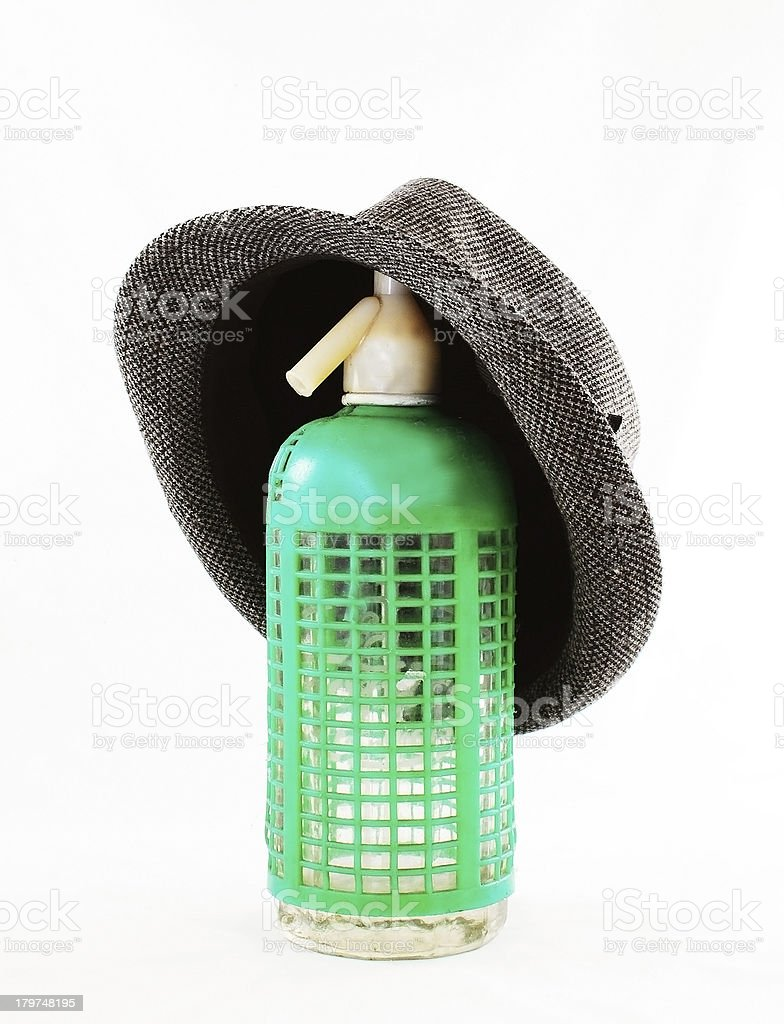 Green seltzer with gray hat royalty-free stock photo
