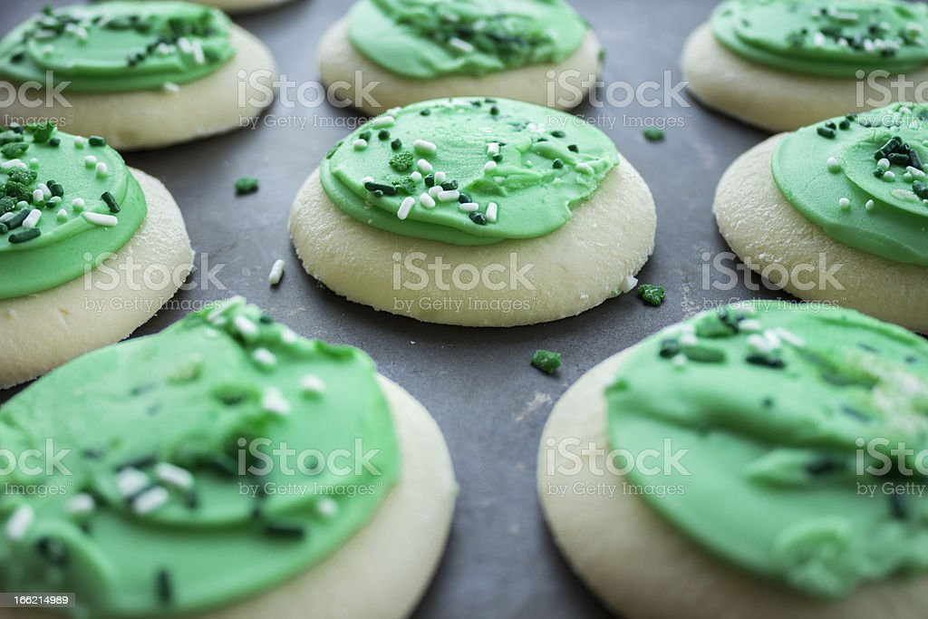 Green Shamrock Sugar Cookies stock photo