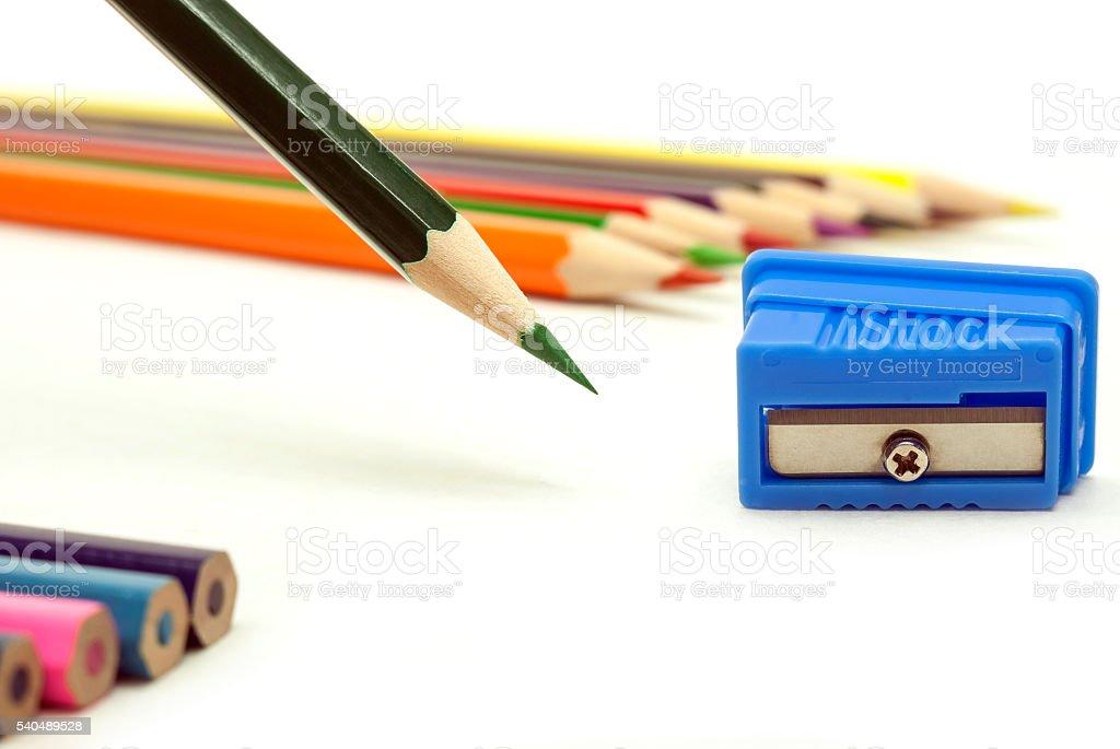 Green sharp pencil royalty-free stock photo