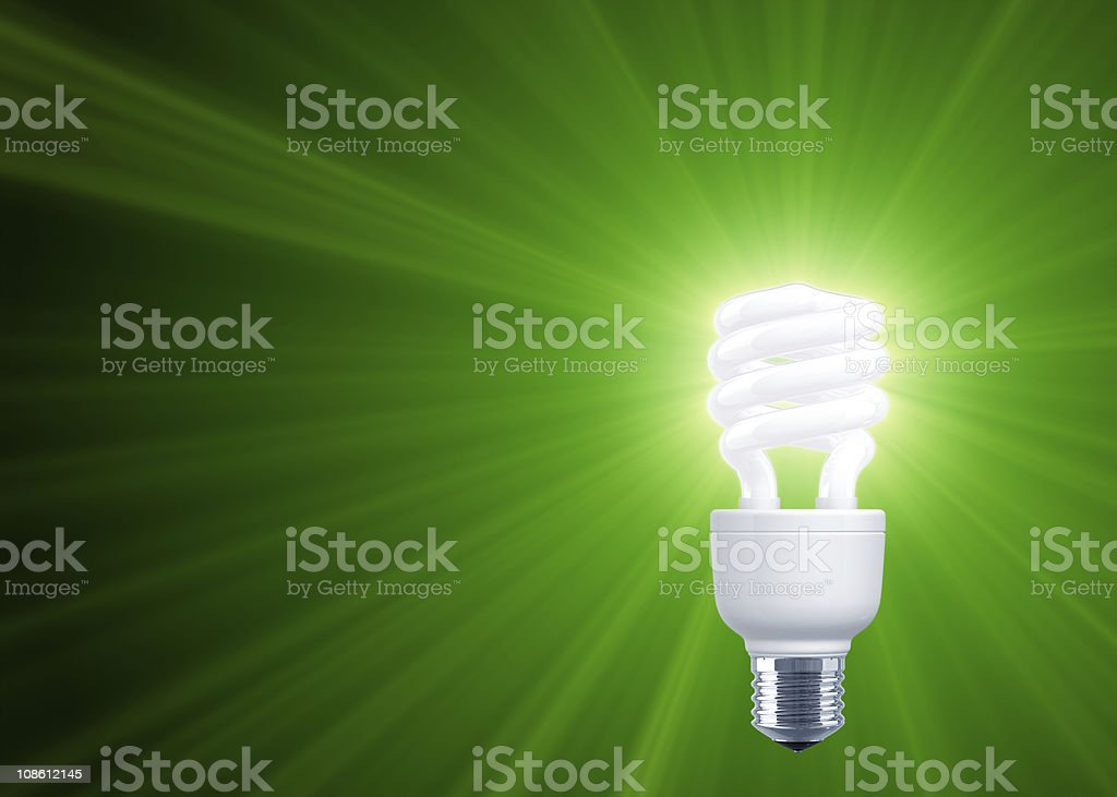 Green Shine of Compact Fluorescent Light Bulb royalty-free stock photo