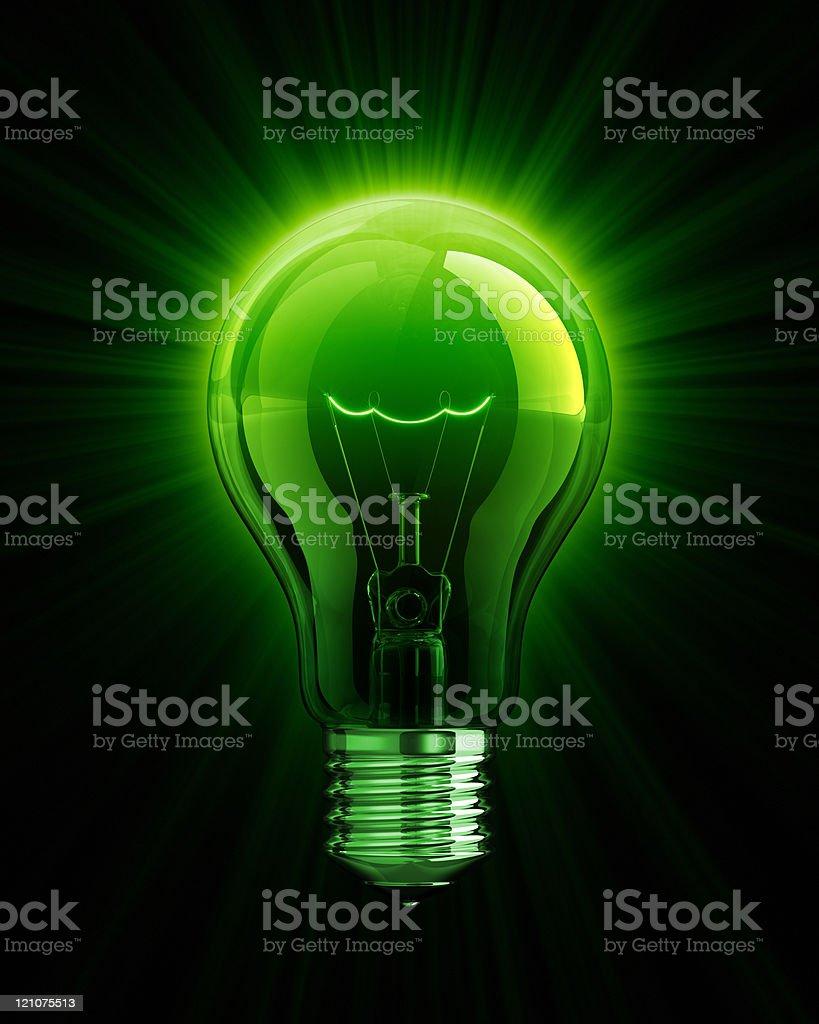 Green shine of Light Bulb stock photo
