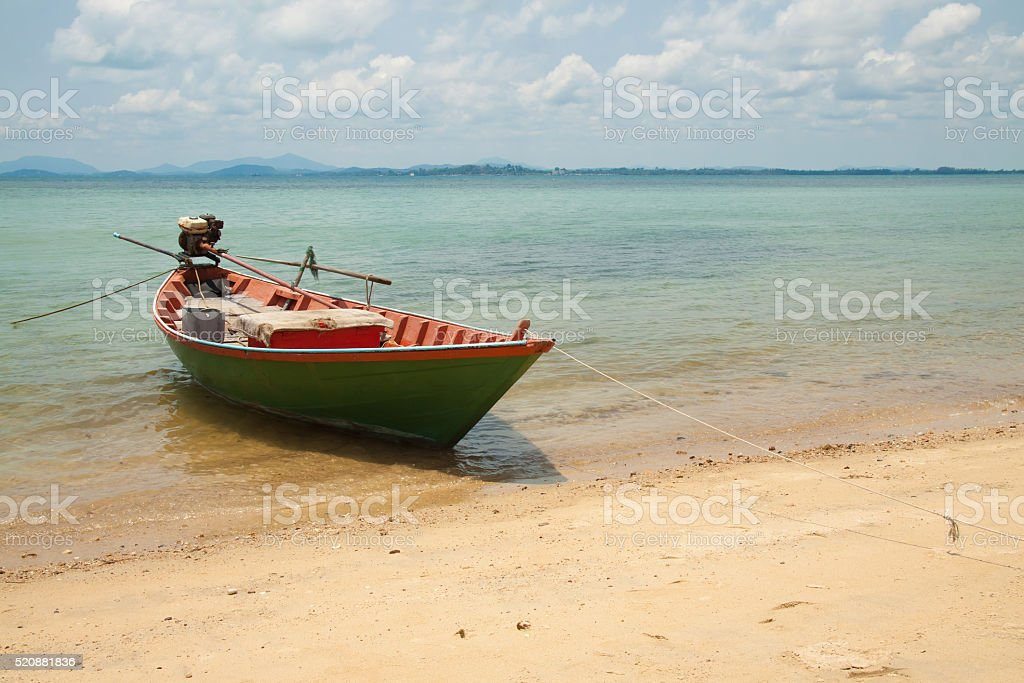 Green ship at seaside of island in thailand royalty-free stock photo