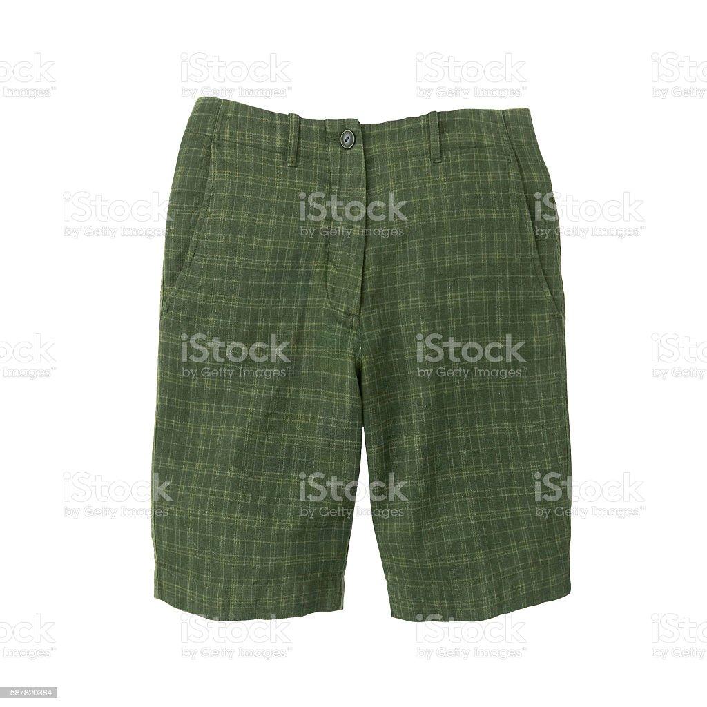 Green shorts isolated stock photo