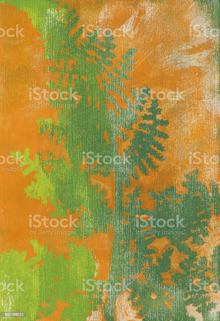 Green silhouetted fern with orange grunge texture stock photo