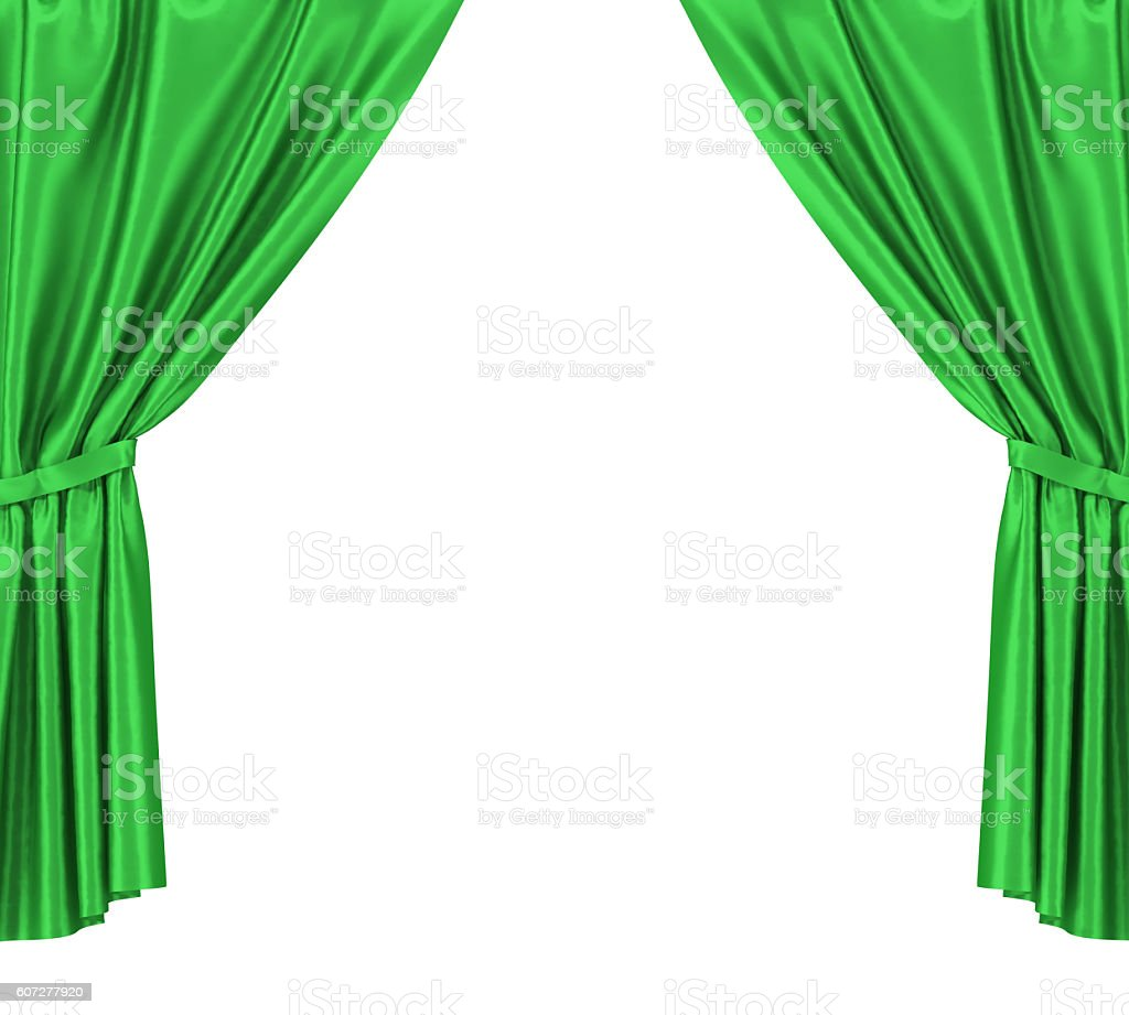 Royalty free or white curtain background drapes royalty free stock - Green Silk Curtains With Garter Isolated On White Background 3d Foto Royalty Free