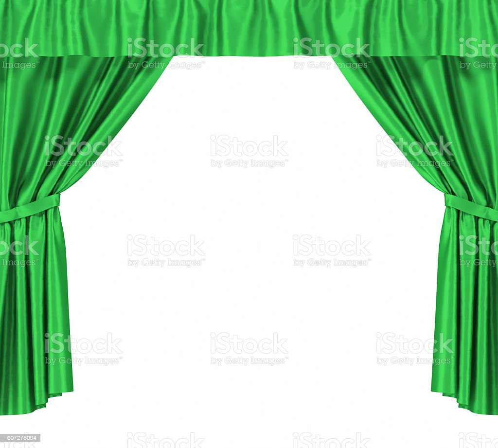 Green silk curtains with garter isolated on white background. 3d stock photo