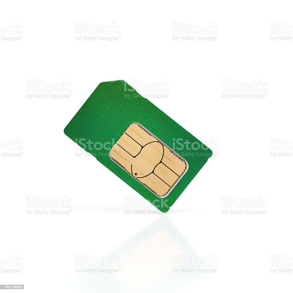Green SIM Card on a white background stock photo