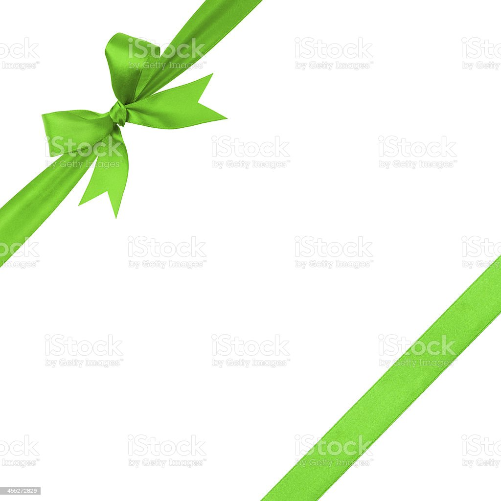green simple tied ribbon bow composition stock photo