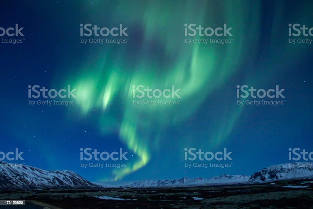 Green sizzling Aurora borealis over  central Iceland stock photo