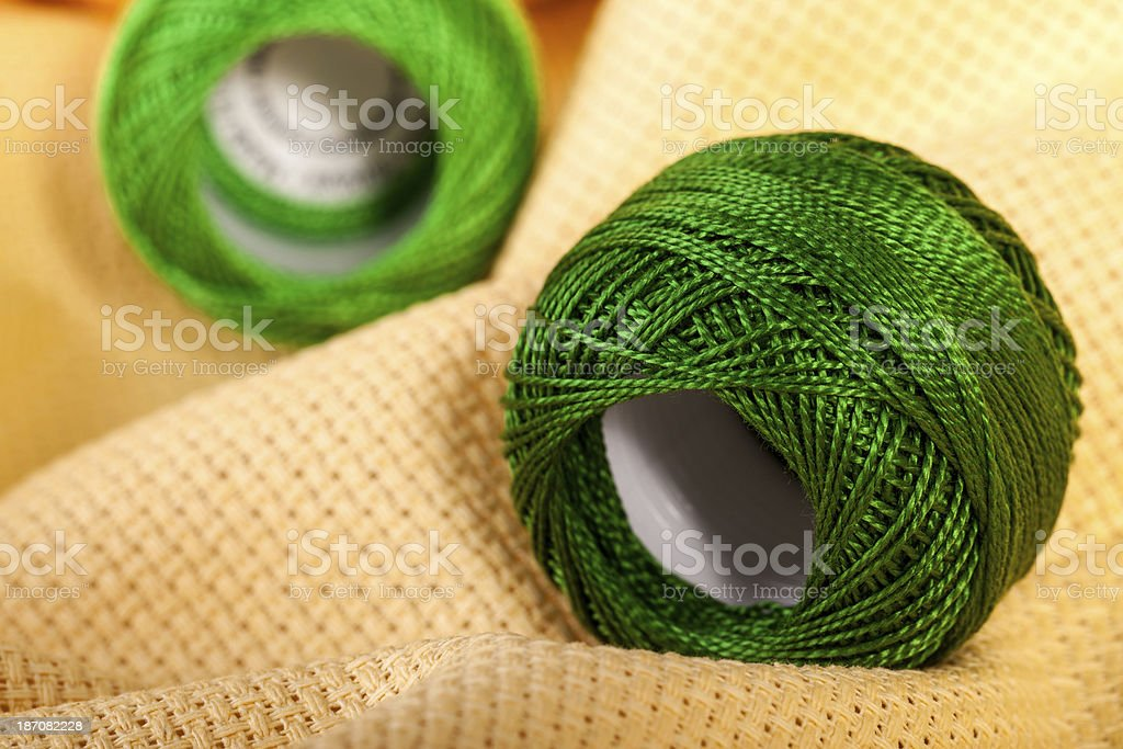 Green Skeins twine royalty-free stock photo