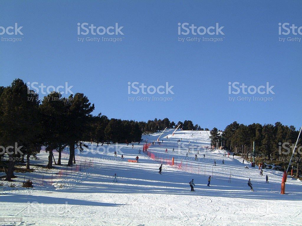 Green ski run royalty-free stock photo