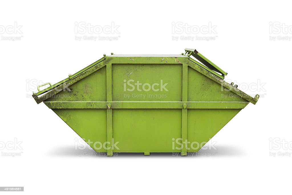 Green skip or dumpster stock photo
