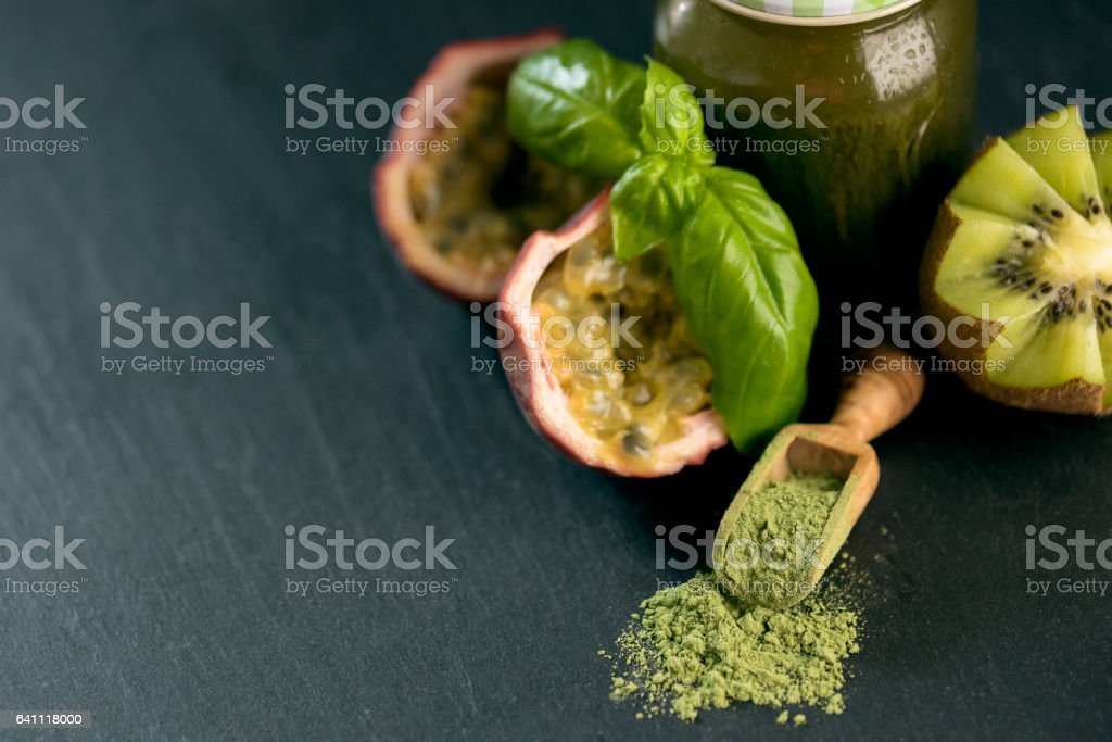 Green Smoothie and with Vegetables, Fruits, and Chlorella stock photo
