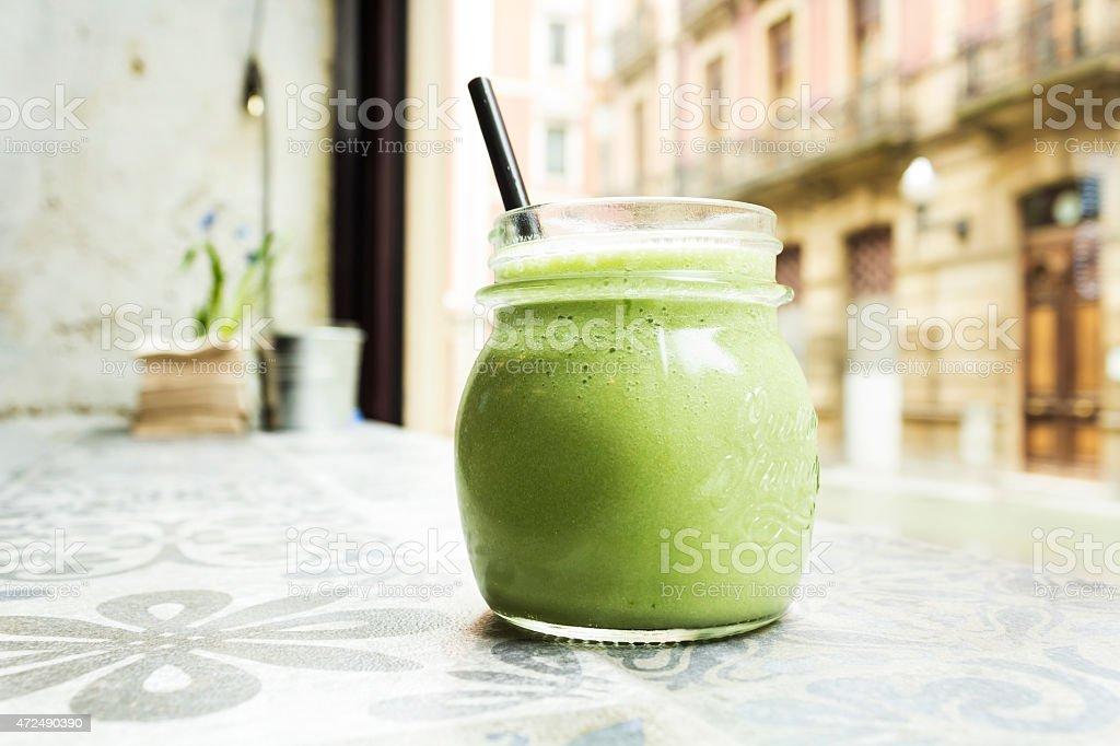Green smoothie. Detox superfood stock photo