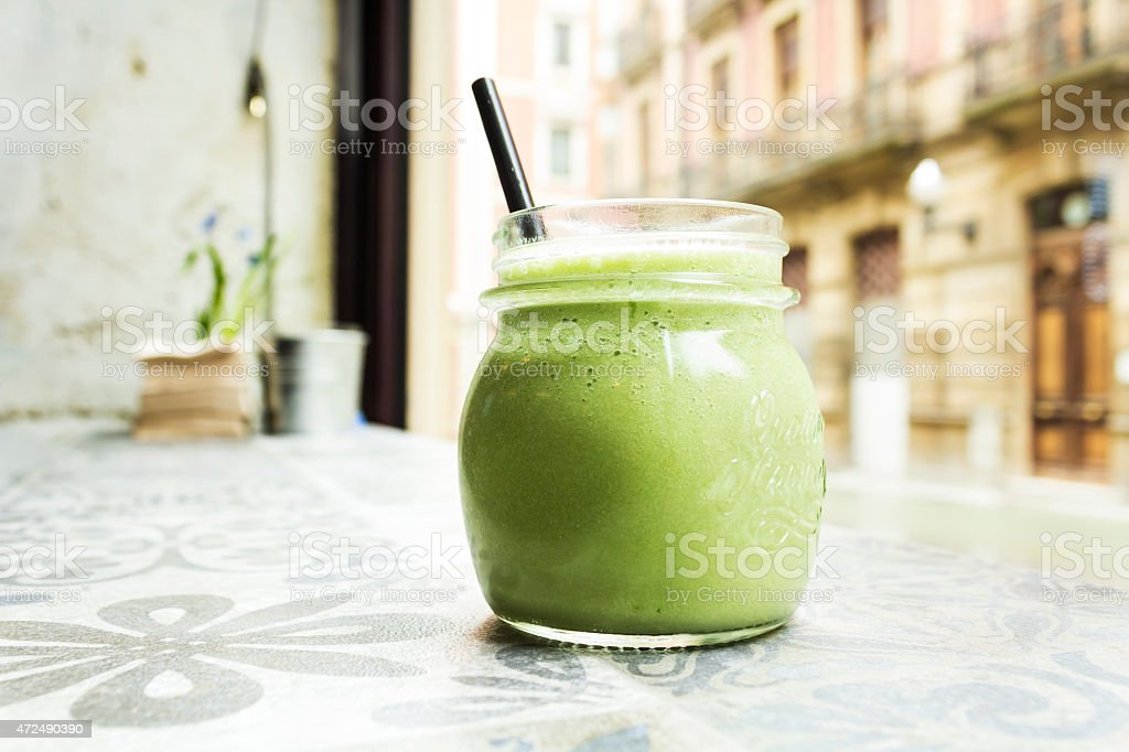 Green smoothie. Detox superfood stock photo