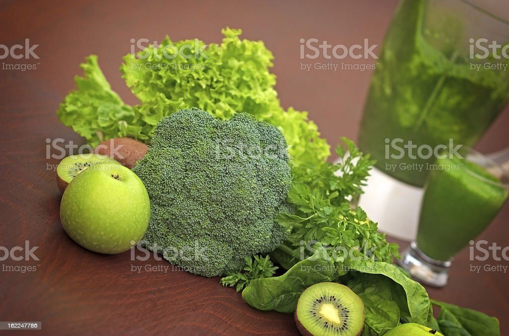 Green smoothie, fruit and vegetable royalty-free stock photo