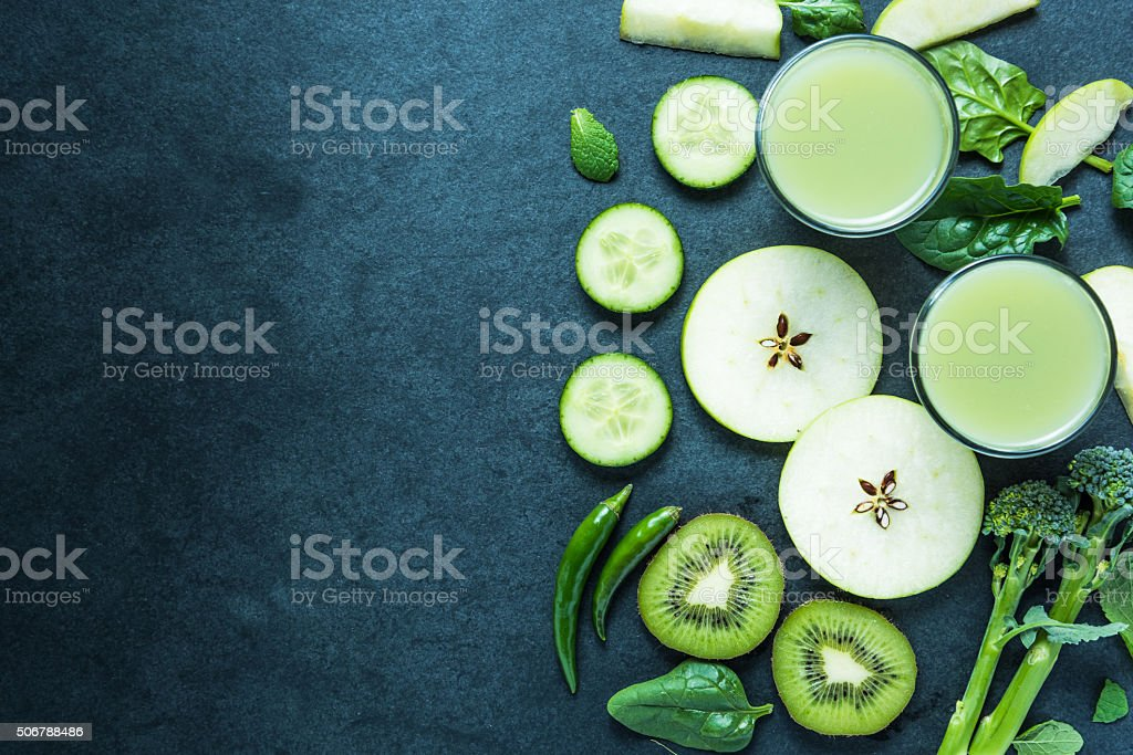 Green smoothie, healthy food background stock photo