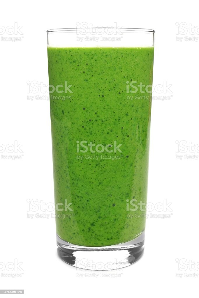 Green smoothie isolated on white stock photo