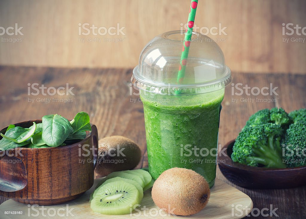 Green smoothie to go stock photo