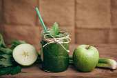 Green smoothie with celery and apple