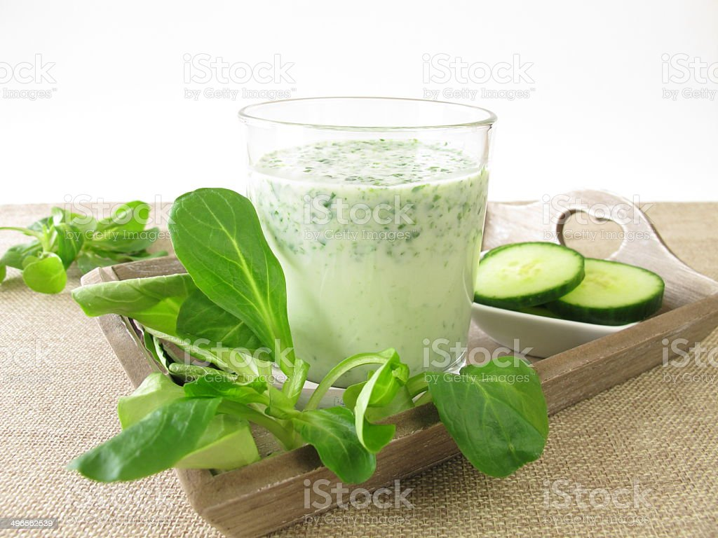 Green smoothie with corn salad and cucumber royalty-free stock photo