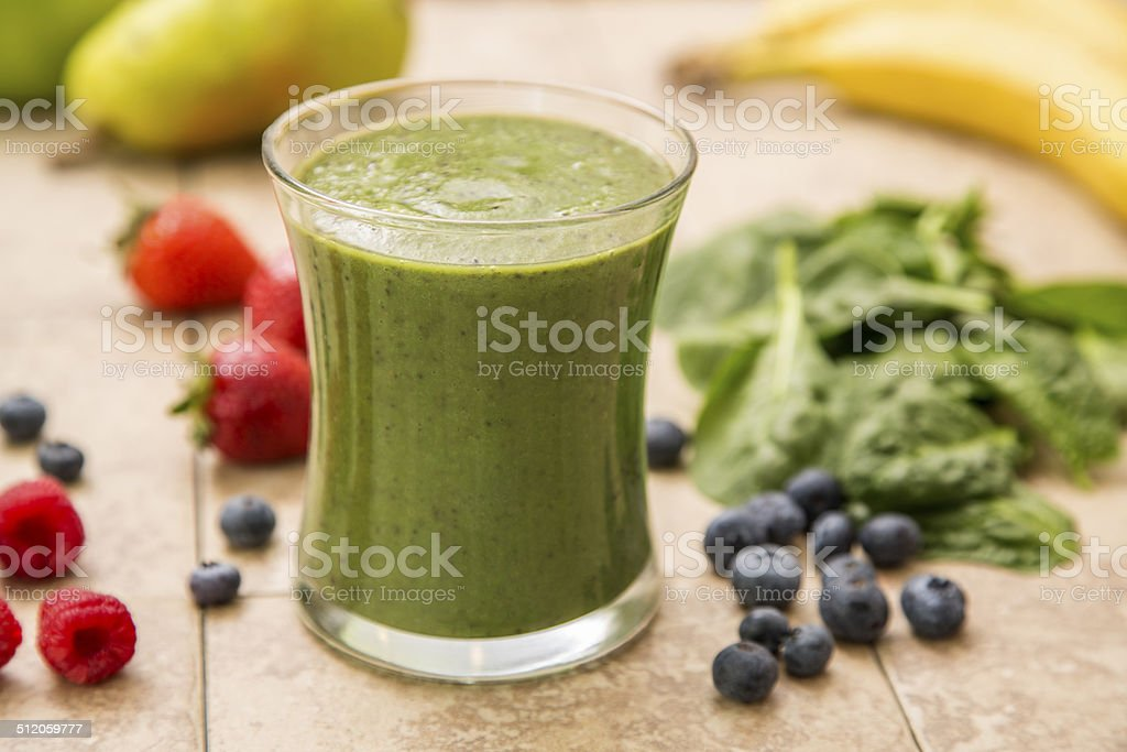 Green Smoothie with Ingredients stock photo