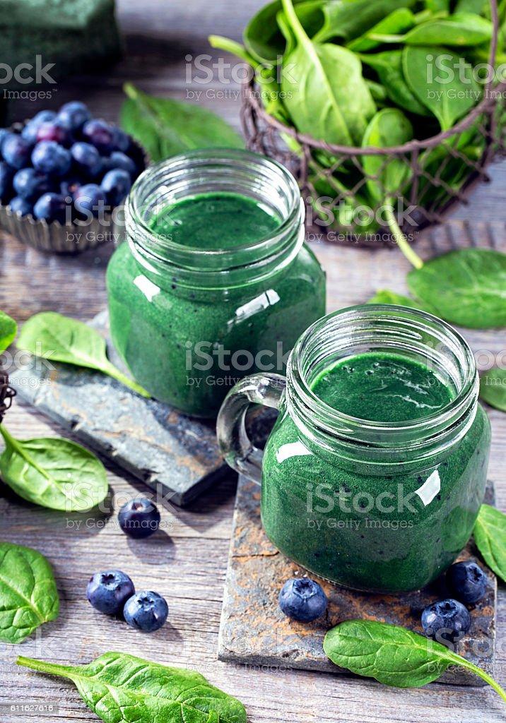 Green smoothie with spirulina stock photo