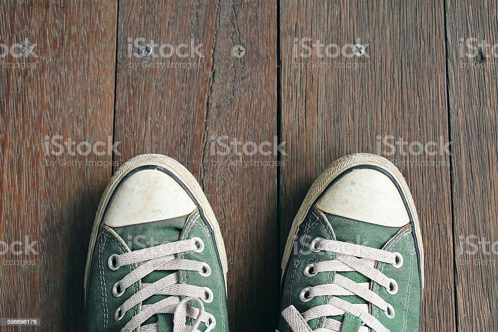 Green sneakers stock photo