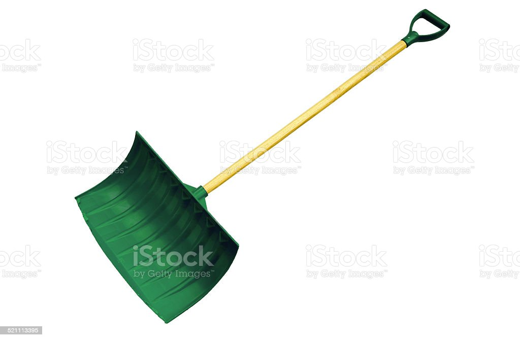 Green Snow Shovel - Clipping Path stock photo