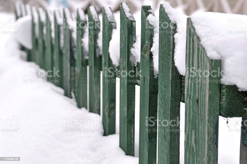 green snowy fence royalty-free stock photo