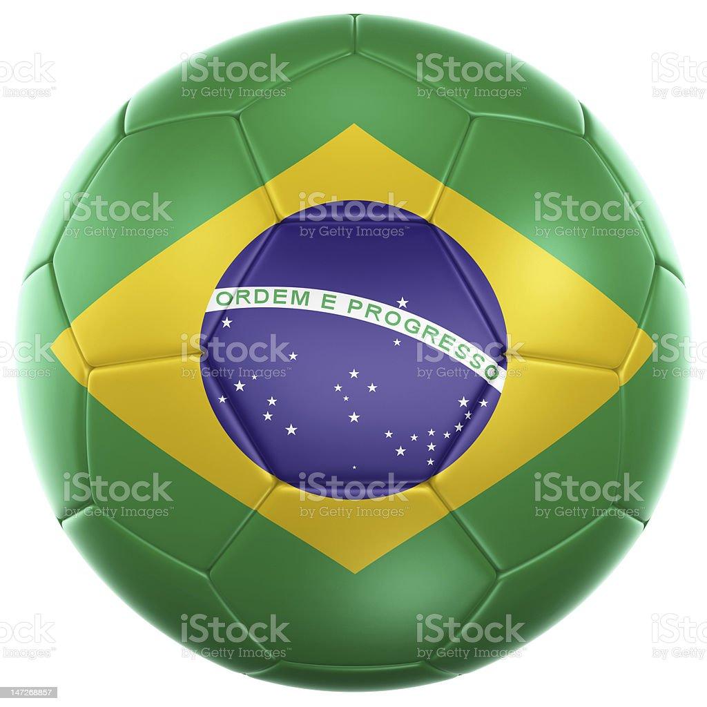 Green soccer ball printed yellow and purple Brazilian flag royalty-free stock photo
