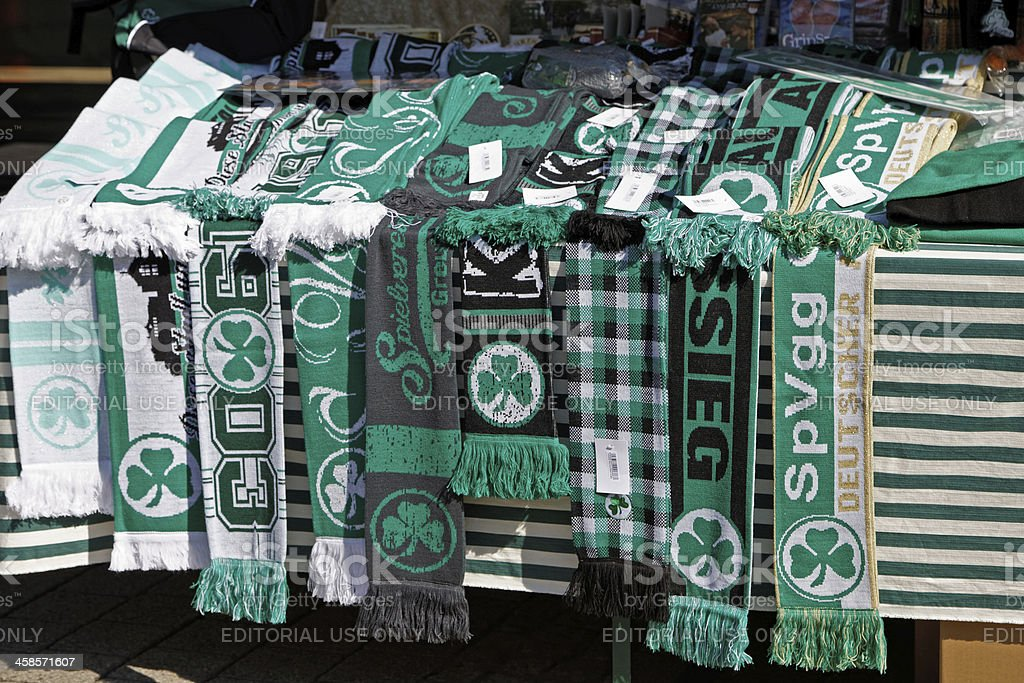 green soccer fan shawl for Greuther Fuerth football club stock photo